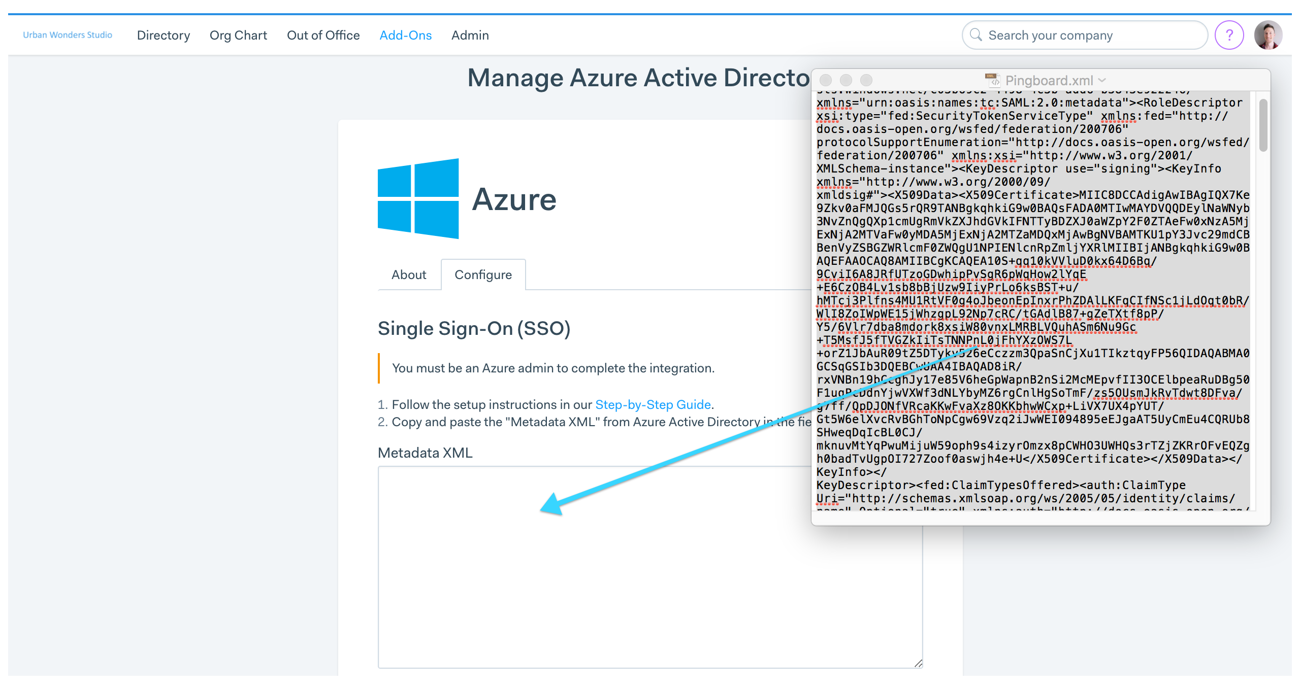 configure single sign on for microsoft azure pingboard help center