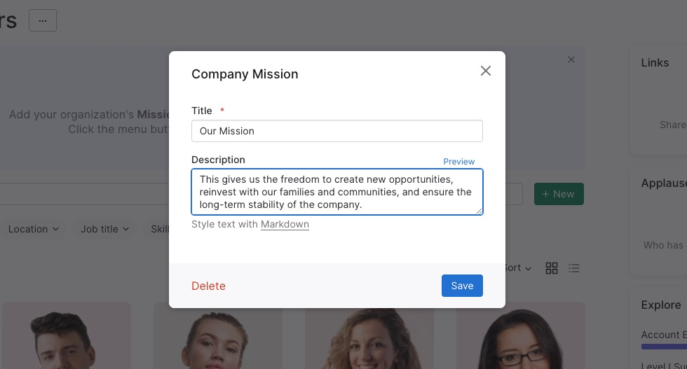 Adding Mission/Vision Statements to Pingboard